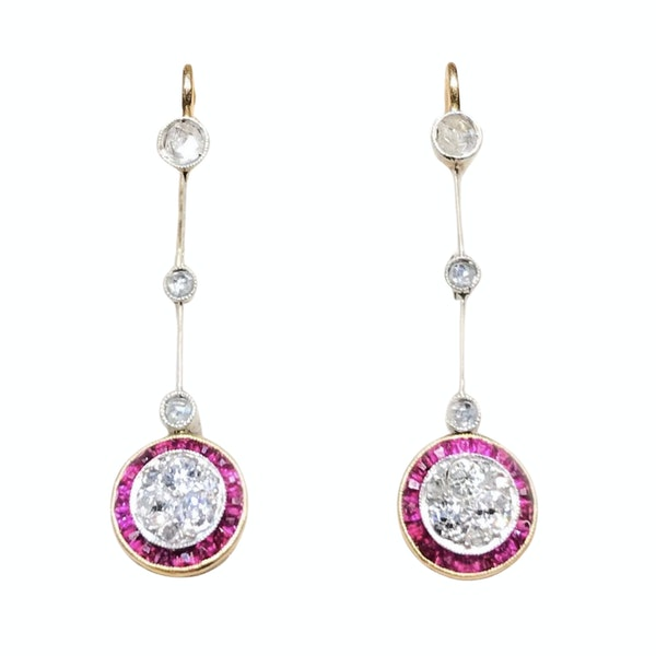 A pair of Ruby Diamond Target Drop Earrings - image 1