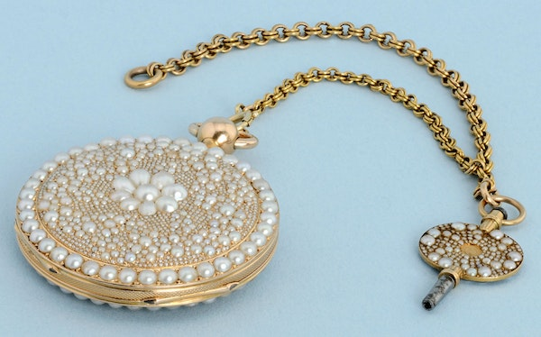 VERY FINE & RARE PEARL ENCRUSTED GOLD REPEATER - image 4