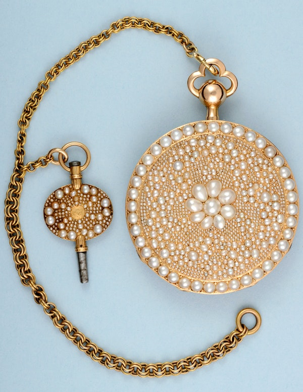 VERY FINE & RARE PEARL ENCRUSTED GOLD REPEATER - image 2