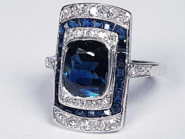Art Deco Sapphire and Diamond Panel Ring  DBGEMS - image 1
