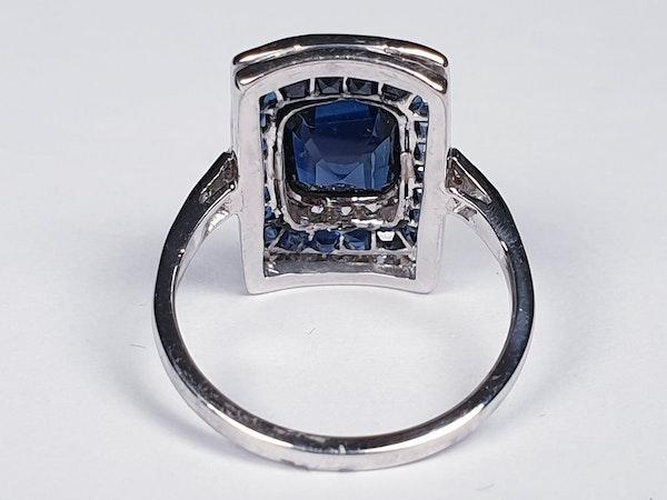 Art Deco Sapphire and Diamond Panel Ring  DBGEMS - image 3