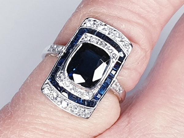 Art Deco Sapphire and Diamond Panel Ring  DBGEMS - image 4