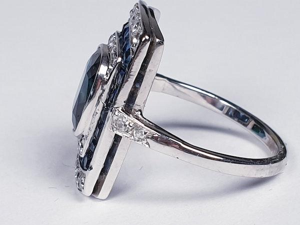 Art Deco Sapphire and Diamond Panel Ring  DBGEMS - image 2