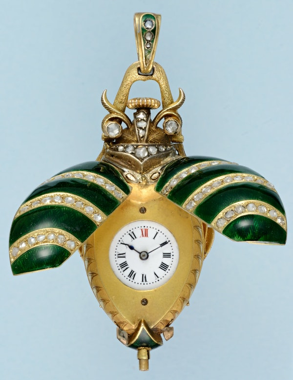 GOLD AND ENAMEL BEETLE FORM WATCH - image 1