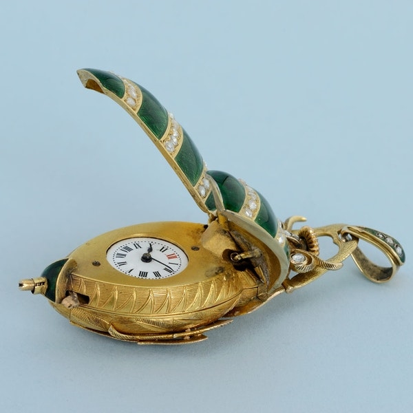 GOLD AND ENAMEL BEETLE FORM WATCH - image 5