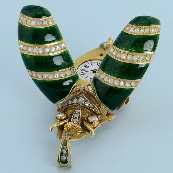 GOLD AND ENAMEL BEETLE FORM WATCH - image 6