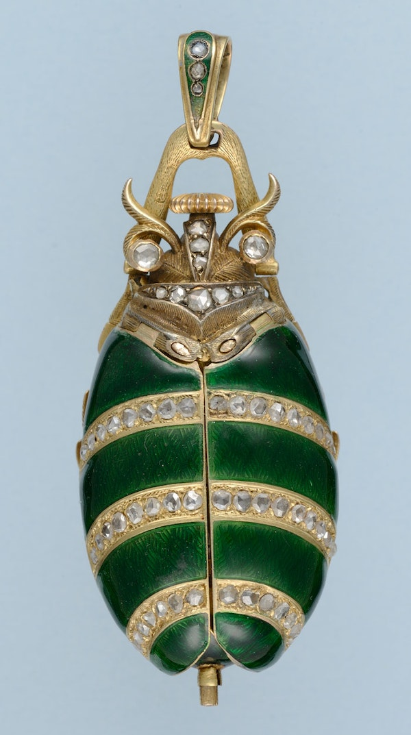 GOLD AND ENAMEL BEETLE FORM WATCH - image 4