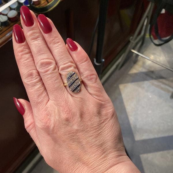 Sapphire Diamond Ring in 18ct Yellow/White Gold date circa 1940 SHAPIRO & Co since1979 - image 5