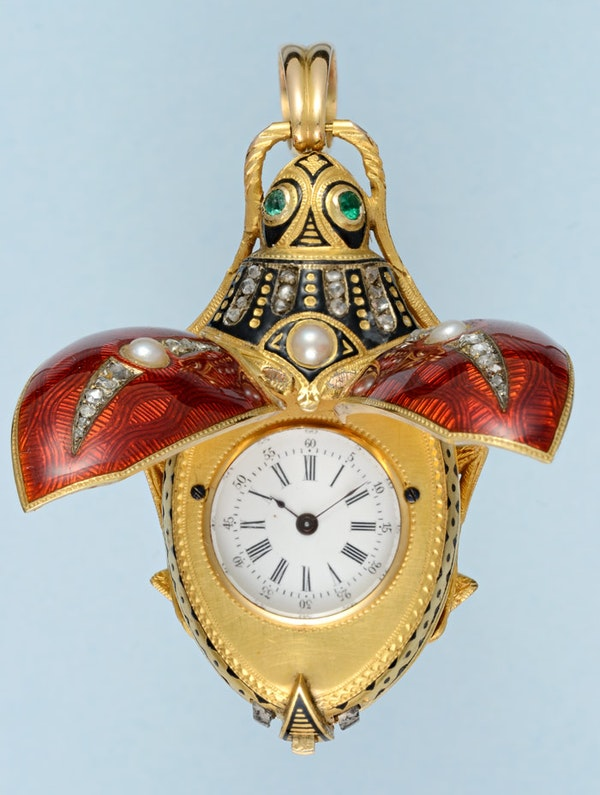 GOLD AND ENAMEL BEETLE FORM WATCH - image 2