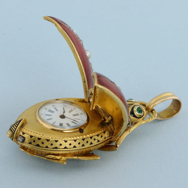 GOLD AND ENAMEL BEETLE FORM WATCH - image 7
