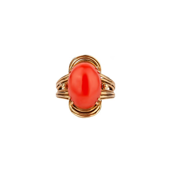 1970s coral cocktail ring - image 1