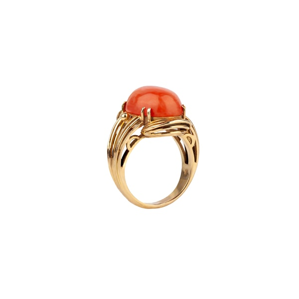 1970s coral cocktail ring - image 2