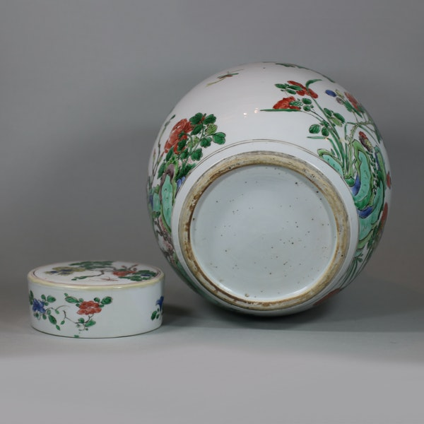 Chinese famille-verte ginger jar and cover, Kangxi (1662-1722) - image 5