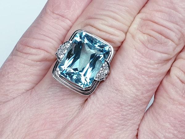 Art deco aquamarine and diamond dress ring  DBGEMS - image 2