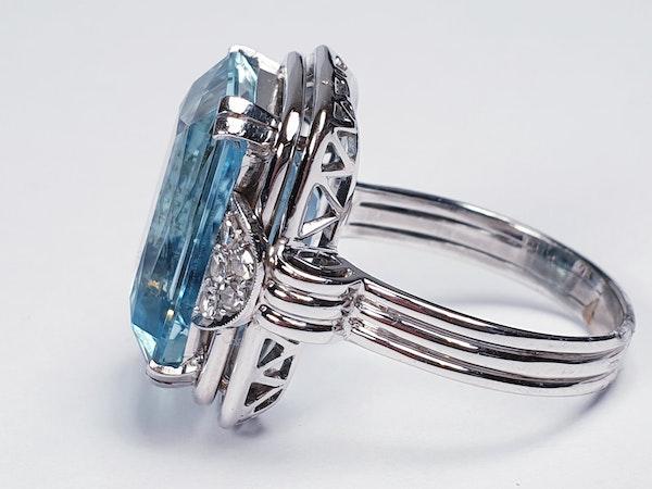 Art deco aquamarine and diamond dress ring  DBGEMS - image 3