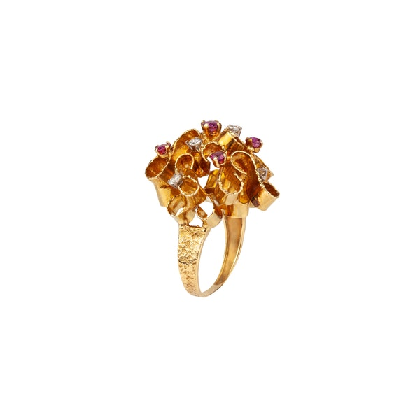 Ruby diamond cocktail ring - image 1