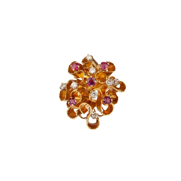 Ruby diamond cocktail ring - image 2