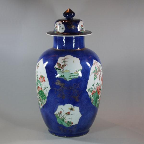 Large Chinese powder blue baluster vase and cover, Kangxi (1662-1722) - image 3