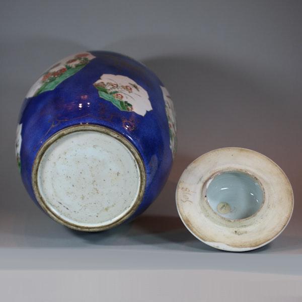 Large Chinese powder blue baluster vase and cover, Kangxi (1662-1722) - image 5