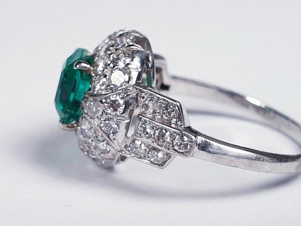 Art deco Columbian emerald engagement ring  DBGEMS - image 3