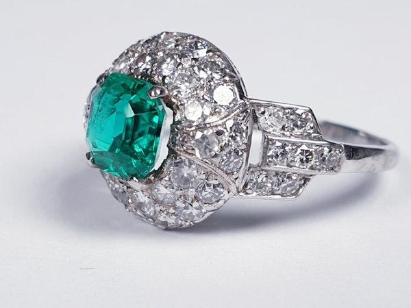 Art deco Columbian emerald engagement ring  DBGEMS - image 5