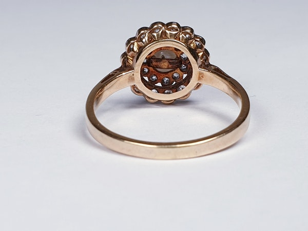 Edwardian Pearl and Diamond Target Ring 1355 DBGEMS - image 2