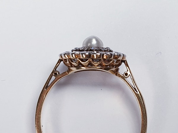Edwardian Pearl and Diamond Target Ring 1355 DBGEMS - image 5