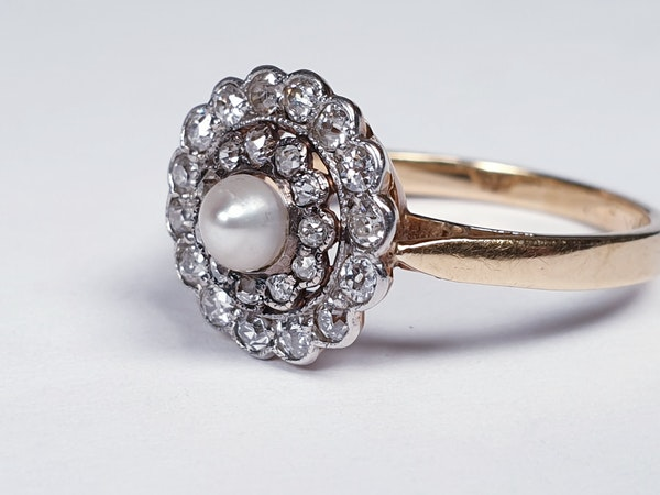 Edwardian Pearl and Diamond Target Ring 1355 DBGEMS - image 3