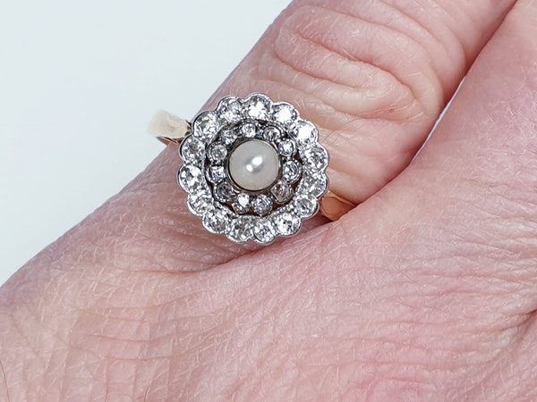 Edwardian Pearl and Diamond Target Ring 1355 DBGEMS - image 4
