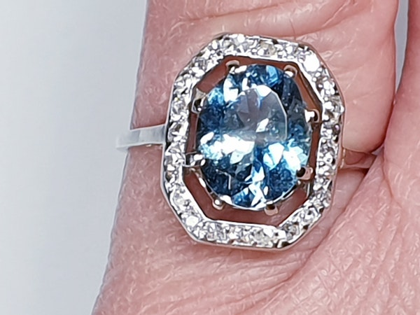Art deco aquamarine and diamond ring  DBGEMS - image 4