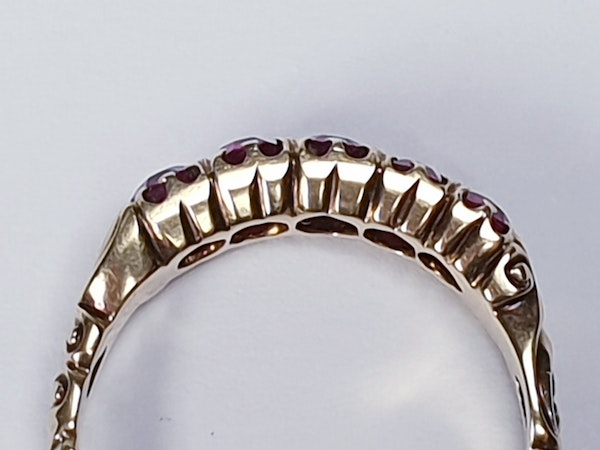 Victorian Five Stone Ruby Ring 3317 DBGEMS - image 1