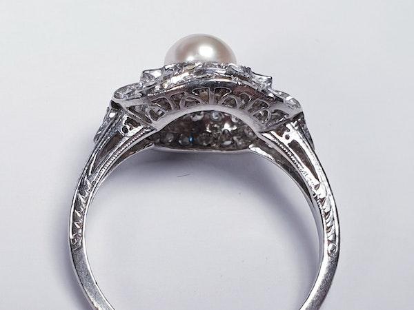 Art Deco Pearl and Diamond Ring  DBGEMS - image 3