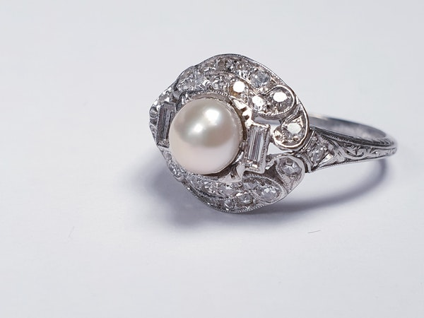 Art Deco Pearl and Diamond Ring  DBGEMS - image 4
