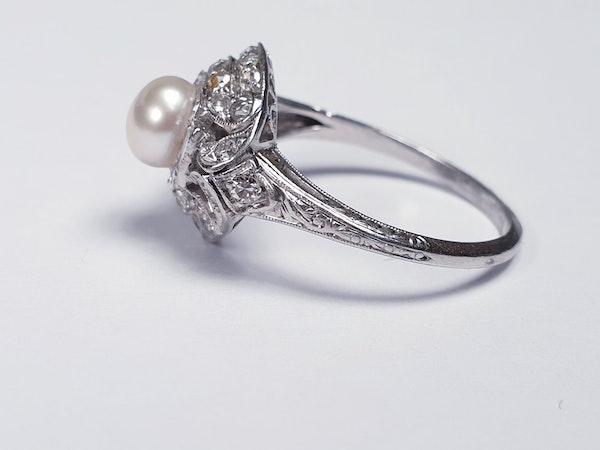 Art Deco Pearl and Diamond Ring  DBGEMS - image 1