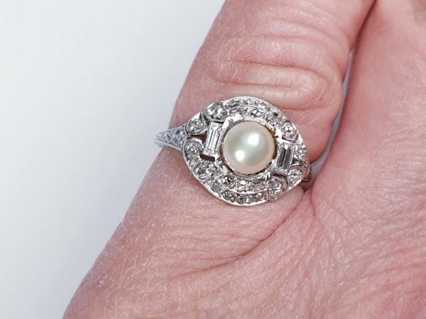 Art Deco Pearl and Diamond Ring  DBGEMS - image 2