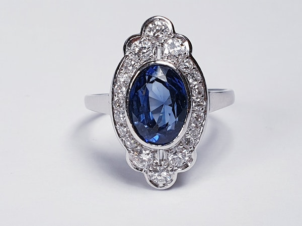 Art Deco Sapphire and Diamond Lozenge Ring  DBGEMS - image 1