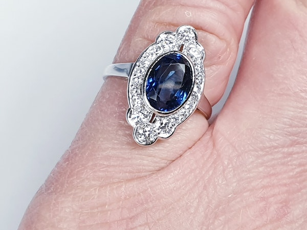 Art Deco Sapphire and Diamond Lozenge Ring  DBGEMS - image 2