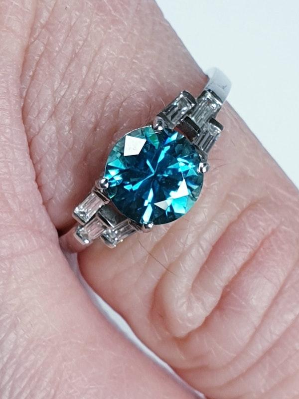 Art deco zircon and baguette diamond art deco ring  DBGEMS - image 4