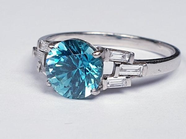 Art deco zircon and baguette diamond art deco ring  DBGEMS - image 2