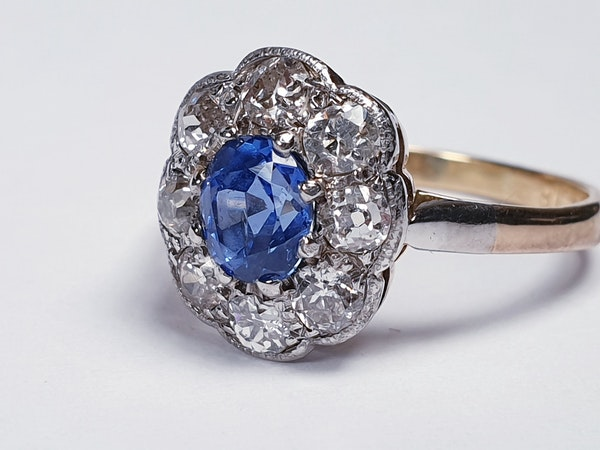 Ceylon sapphire and diamond cluster engagement ring  DBGEMS - image 4