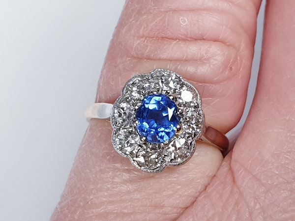 Ceylon sapphire and diamond cluster engagement ring  DBGEMS - image 2