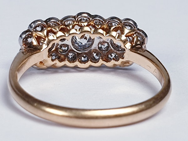 Edwardian Triple cluster diamond engagement ring  DBGEMS - image 2
