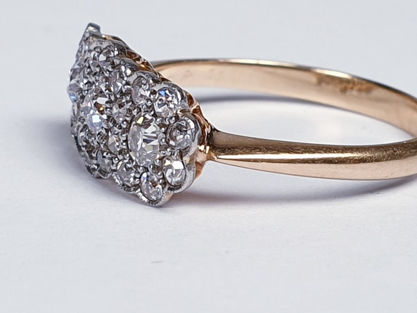 Edwardian Triple cluster diamond engagement ring  DBGEMS - image 3