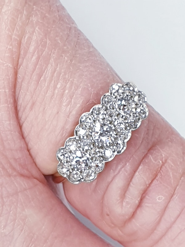 Edwardian Triple cluster diamond engagement ring  DBGEMS - image 4