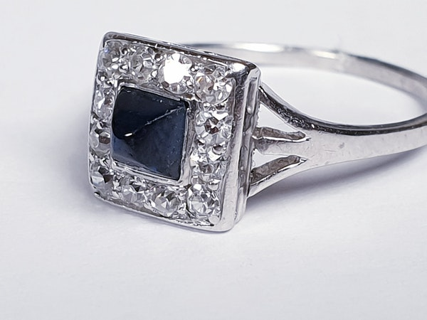 Art Deco Sugar Loaf Sapphire and Diamond Engagement Ring  DBGEMS - image 4
