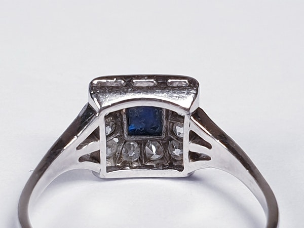 Art Deco Sugar Loaf Sapphire and Diamond Engagement Ring  DBGEMS - image 5