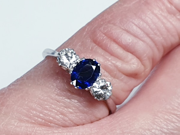 Art Deco Sapphire and Diamond Three Stone Ring  DBGEMS - image 2