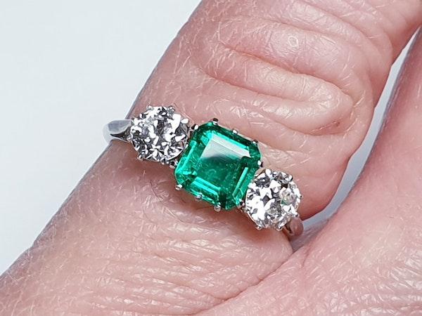 Emerald and diamond engagement ring  DBGEMS - image 3