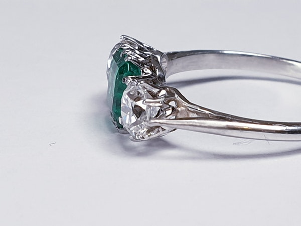 Emerald and diamond engagement ring  DBGEMS - image 2