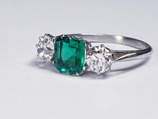 Emerald and diamond engagement ring  DBGEMS - image 1